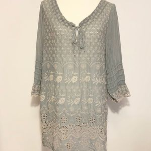 Johnny Was eyelet tunic top Size M